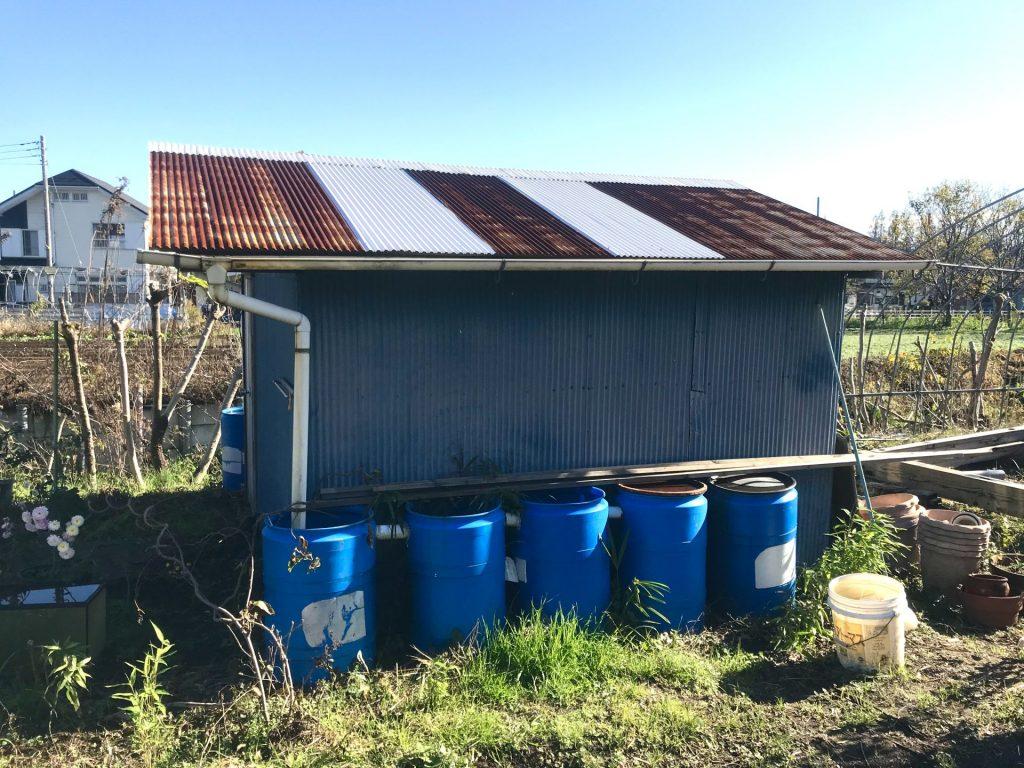 道具小屋。手前の青い円筒形ものが雨水タンクです