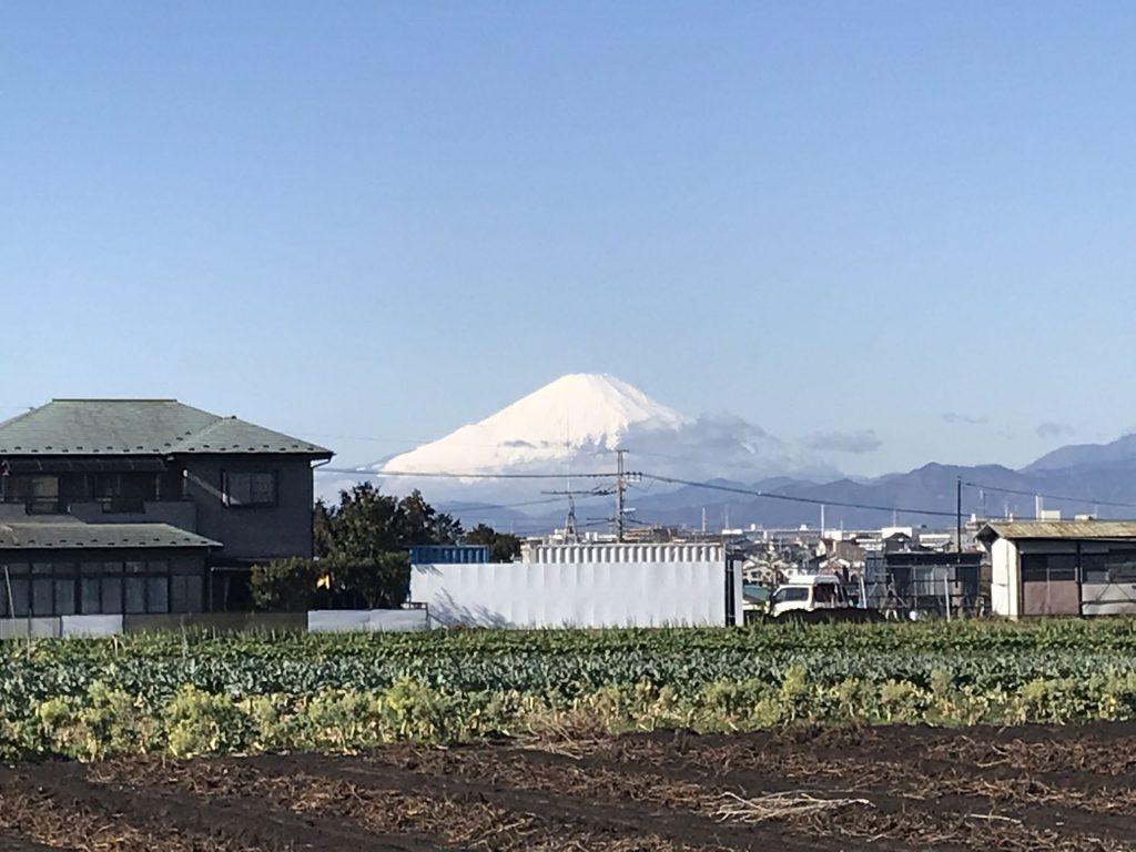よく晴れて建設日和。富士山もよく見えます