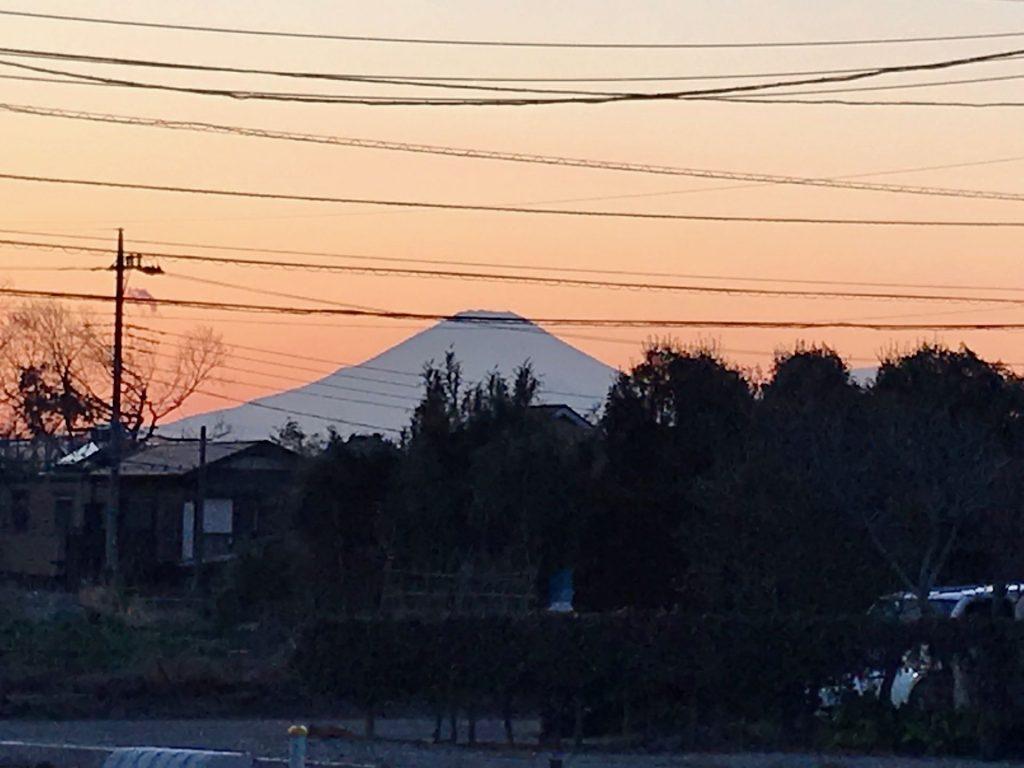作業が終わる頃には日が傾いて、富士山のシルエットが夕日に映えます