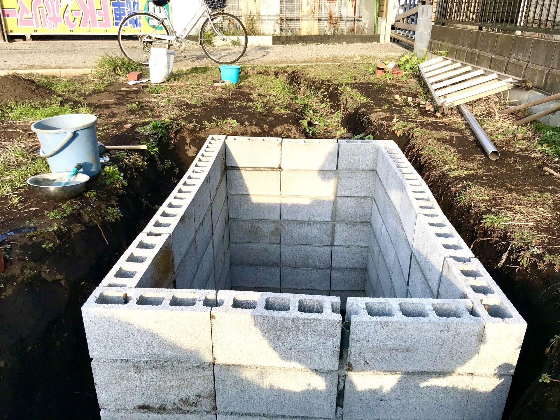 完成した貯水槽